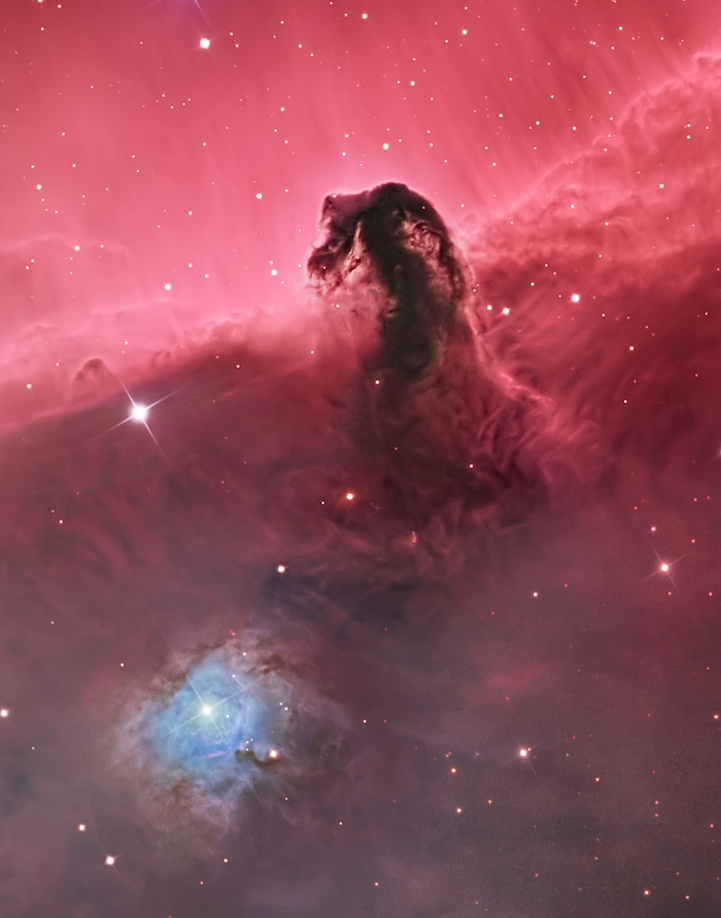 Astronomy Photographer of the Year 2014 Winners  *Embargoed until 00.01 BST on 18 September 2014*      The Horsehead Nebula (IC 434) © Bill Snyder (USA) – WINNER The Horsehead Nebula is one of the most photographed objects in the night sky, but this image portrays it in a brand new light. The photographer draws the eye down to the creased and folded landscape of gas and dust at its base rather than focusing solely on the silhouette of the horsehead itself. Snyder also includes the glowing cavity surrounding a bright star situated to the lower left of the horsehead.
