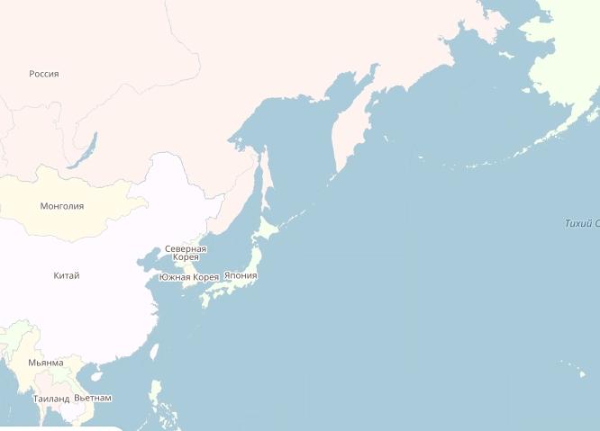 В этой вселенной - Япония даже южнее Южной Кореи