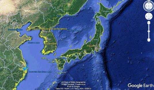 В этой вселенной - Япония южнее Южной Кореи